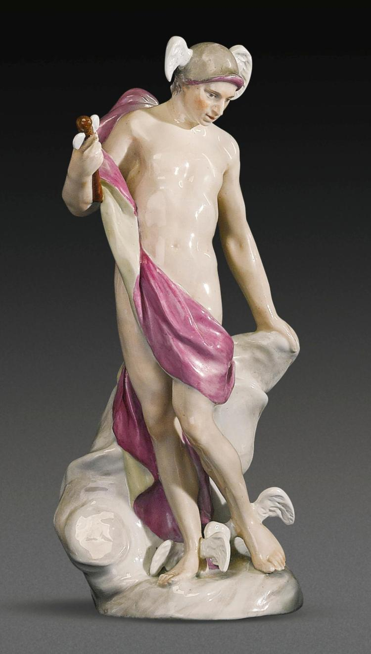 A KLOSTER VEILSDORF PORCELAIN FIGURE OF MERCURY FROM THE 'SEVEN PLANETS' SERIES, CIRCA 1765 |