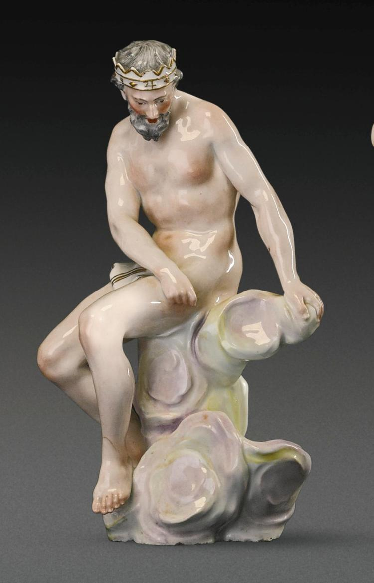 A KLOSTER VEILSDORF PORCELAIN FIGURE OF JUPITER FROM THE 'SEVEN PLANETS' SERIES, CIRCA 1765 |