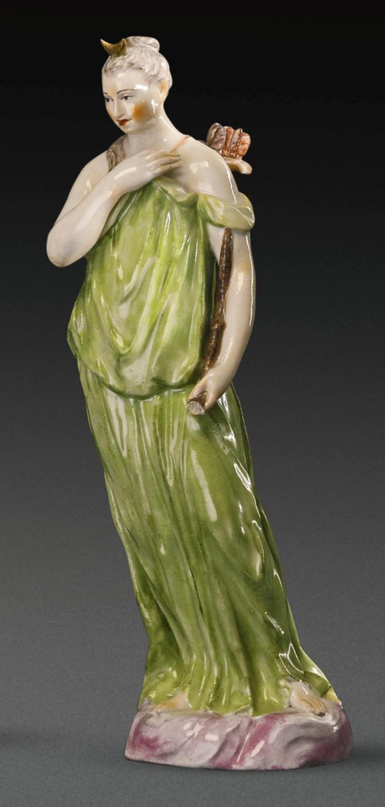 A KLOSTER VEILSDORF PORCELAIN FIGURE OF DIANA FROM THE 'SEVEN PLANETS' SERIES, CIRCA 1765 |