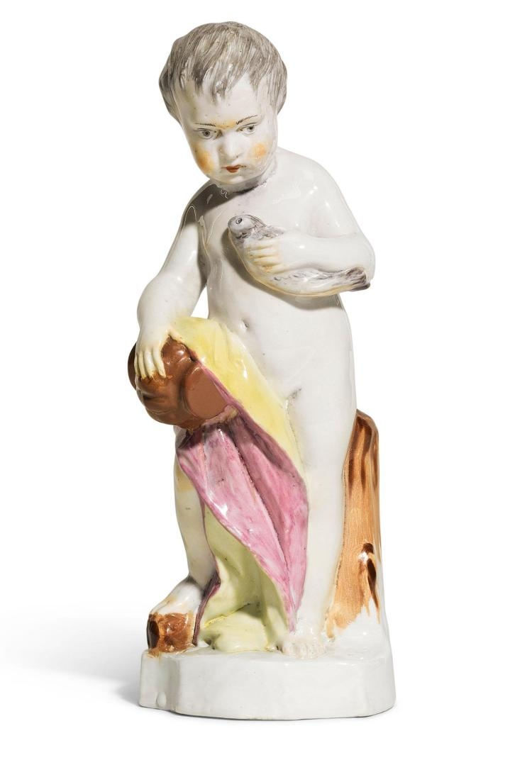 A KLOSTER VEILSDORF PORCELAIN PUTTO FIGURE EMBLEMATIC OF 'WATER', CIRCA 1765 |