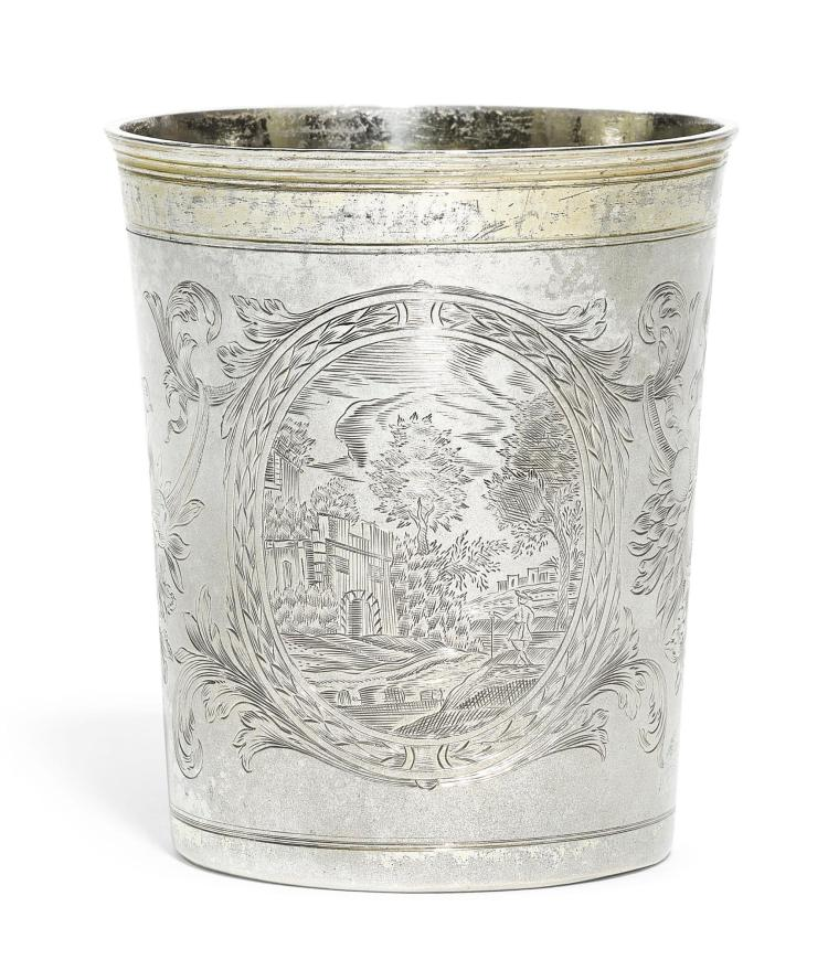 A CONTINENTAL PARCEL-GILT SILVER BEAKER, MAKER'S MARK I*B STRUCK THREE TIMES, RUSSIAN OR GERMAN, CIRCA 1700 |