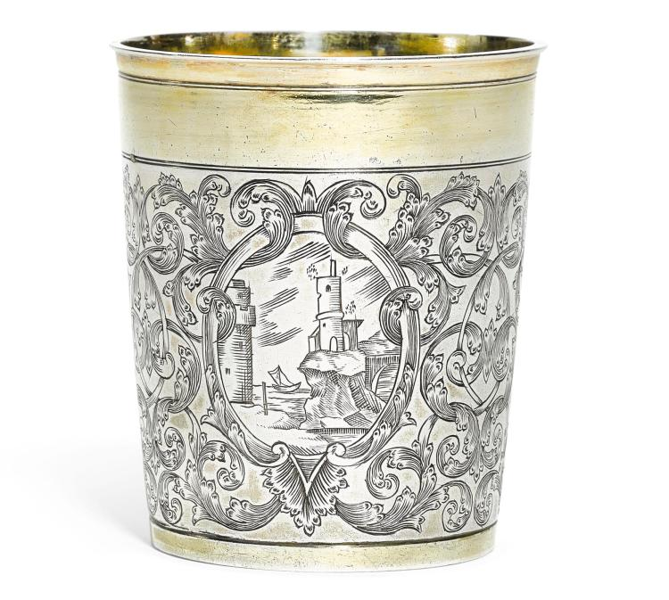 A GERMAN PARCEL-GILT SILVER BEAKER, PHILIPP STENGLIN, AUGSBURG, 1705-09  