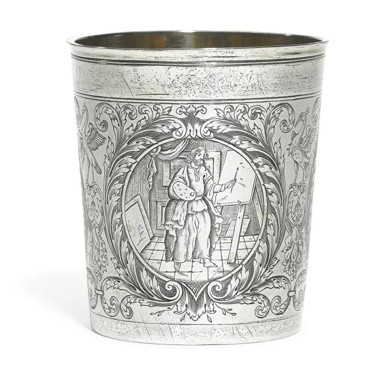 A GERMAN PARCEL-GILT SILVER BEAKER, PROBABLY JOHAN BALTHASAR SEDLE(T)ZKY, AUGSBURG, 1687-91, PROBABLY JOHAN BALTHASAR SEDLE(T)ZKY, AUGSBURG, 1687-91 |