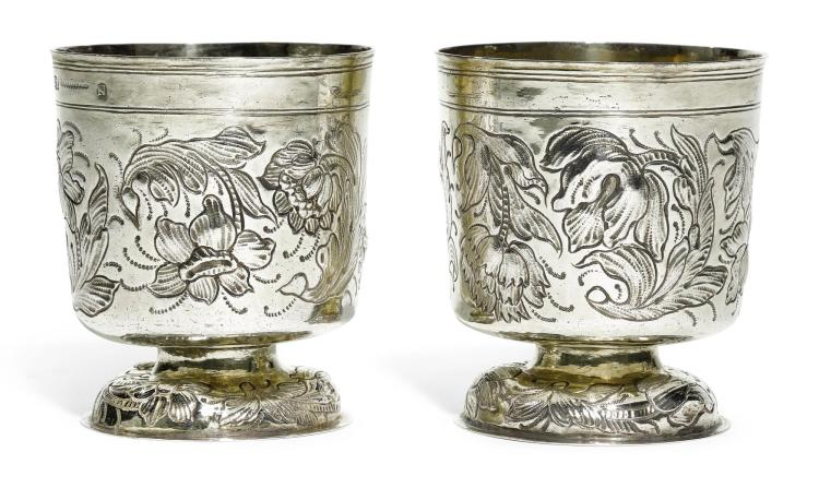 A PAIR OF GERMAN PARCEL-GILT SILVER BEAKERS, HANS CHRISTOPH HAUG, NUREMBERG, 1661-64 |