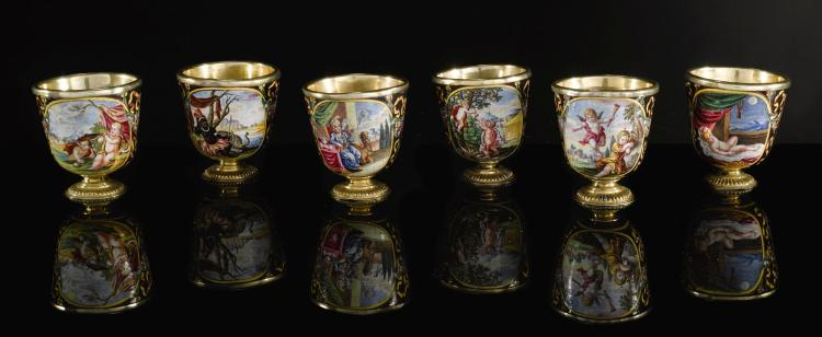A SET OF 6 ENAMEL SPIRIT CUPS WITH SILVER-GILT MOUNTS, PROBABLY AUFENWERTH WORKSHOP, AUGSBURG, 1710-1720 | A set of 6 enamel spirit cups with silver-gilt mounts, probably Aufenwerth workshop, Augsburg, 1710-1720