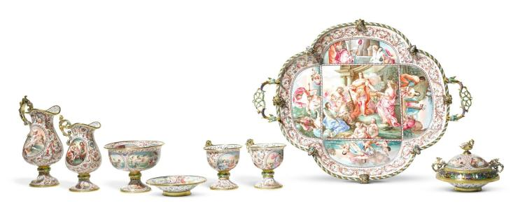 A SILVER-GILT AND PAINTED ENAMEL CABARET TEA SERVICE, HERMANN BÖHM, VIENNA, LATE 19TH CENTURY | A silver-gilt and painted enamel cabaret tea service, Hermann Böhm, Vienna, late 19th century