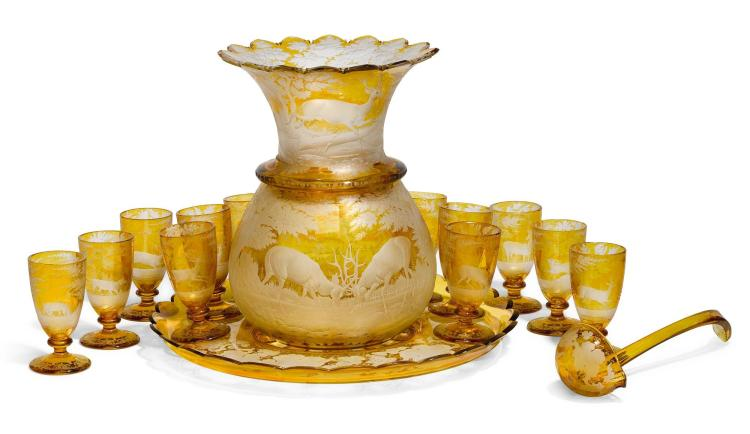 A BOHEMIAN AMBER-STAINED GLASS PUNCH SET, MID-19TH CENTURY |