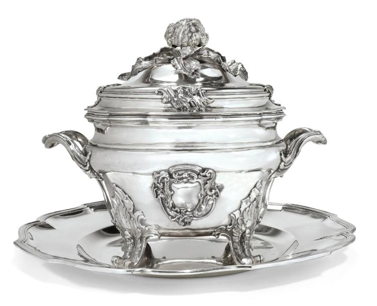 AN ITALIAN SILVERSOUP TUREEN, COVER AND STAND, MAKER'S MARK 'GGC' UNRECORDED, NAPLES, CIRCA 1760  