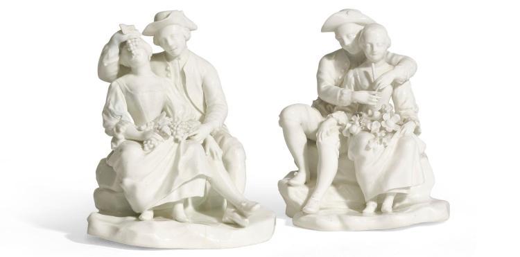 A PAIR OF TOURNAI WHITE GLAZED PORCELAIN FIGURE GROUPS, CIRCA 1770 |