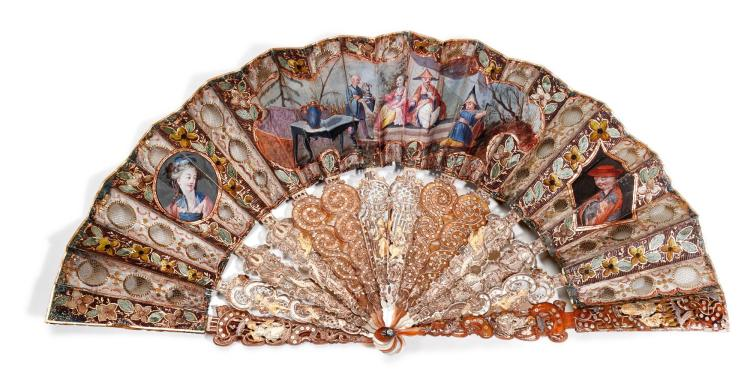 AN IVORY, MOTHER OF PEARL AND TORTOISESHELL FAN WITH CHINOISERIE ORNAMENT, FRENCH, CIRCA 1770-1780 | An ivory, mother of pearl and tortoiseshell fan with chinoiserie ornament, French, circa 1770-1780