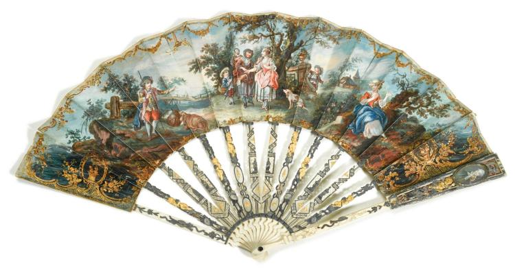 'THE FORTUNE TELLER'. AN ARTICULATED IVORY FAN WITH MINIATURE PORTRAITS, FRENCH, CIRCA 1770 | 'The Fortune Teller'. An articulated ivory fan with miniature portraits, French, circa 1770