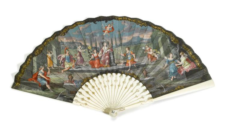 'HOMAGE TO FLORA'. AN IVORY FAN, PROBABLY ITALIAN, CIRCA 1690   'Homage to Flora'. An ivory fan, probably Italian, circa 1690
