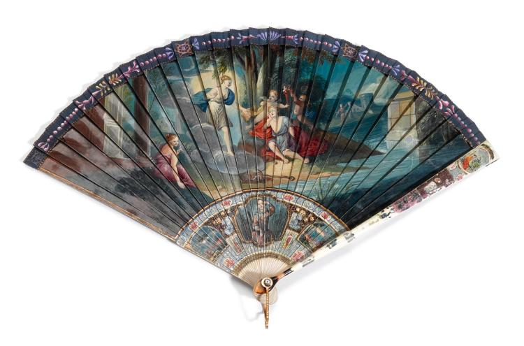 'CUPID AND PSYCHE'. AN IVORY BRISÉ FAN, FRENCH, CIRCA 1720-1730 | 'Cupid and Psyche'. An ivory brisé fan, French, circa 1720-1730