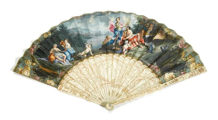 'VENUS AND VULCAN'. AN IVORY FAN, ENGLISH, CIRCA 1750. | 'Venus and Vulcan'. An ivory fan, English, circa 1750.