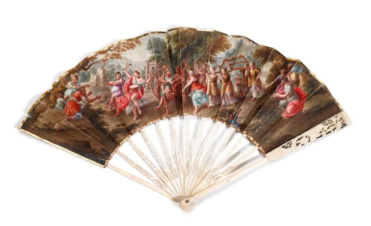 'KING DAVID DANCING BEFORE THE ARK OF THE COVENANT', AN IVORY FAN, POSSIBLY DUTCH, CIRCA 1770 | 'King David dancing before the Ark of the Covenant', An ivory fan, possibly Dutch, circa 1770