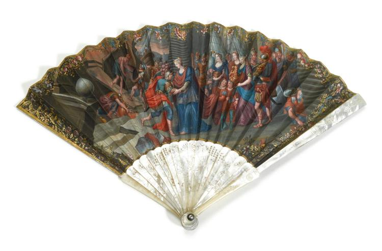 'THE EMBARKATION'. A MOTHER OF PEARL FAN, FRENCH OR ITALIAN,CIRCA 1750 | 'The Embarkation'. A mother of pearl fan, French or Italian,circa 1750