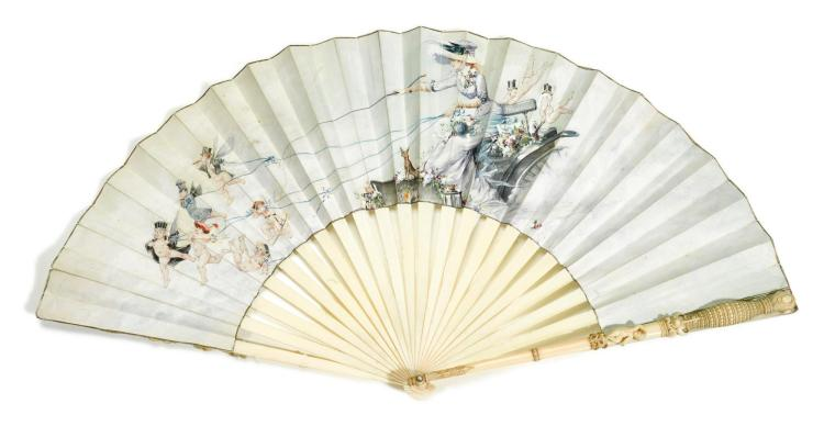 'ALLEGORY OF THE NEW WOMAN'. AN IVORY FAN, PAUL-LÉON JAZET, SO CALLED 'JAPHET', FRENCH, CIRCA 1890 | 'Allegory of the new woman'. An ivory fan, Paul-Léon Jazet, so called 'Japhet', French, circa 1890