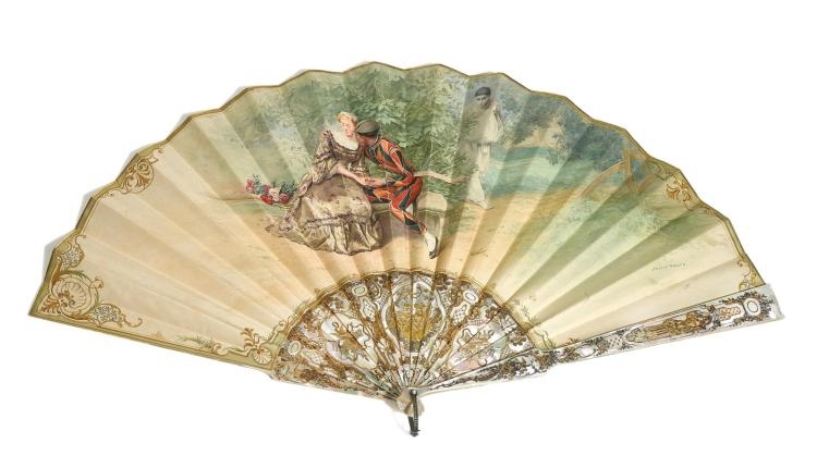 'HARLEQUIN, COLOMBINE AND PIERROT'. A LARGE MOTHER-OF-PEARL FAN, ALEXIS VOLLON FOR DUVELLEROY, FRENCH, CIRCA 1880 | 'Harlequin, Colombine and Pierrot'. A large mother-of-pearl fan, Alexis Vollon for Duvelleroy, French, circa 1880