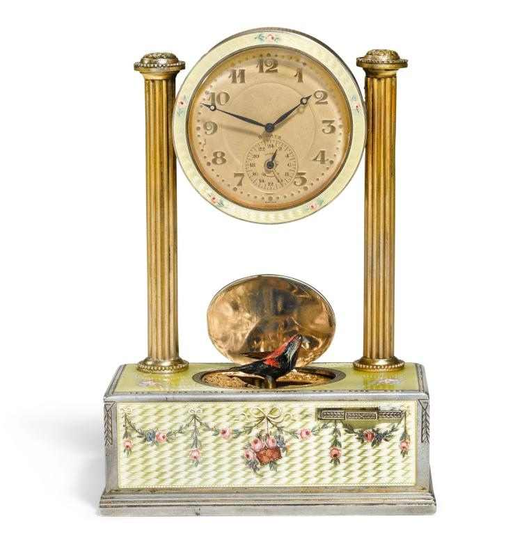 A SILVER-GILT AND ENAMEL SINGING BIRD TIMEPIECE, C.A. MARGUERAT, SWISS, CIRCA 1925   A silver-gilt and enamel singing bird timepiece, C.A. Marguerat, Swiss, circa 1925
