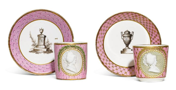 TWO FULDA PORCELAIN PORTRAIT MEDALLION COFFEE CUPS AND SAUCERS, 1780-85 |