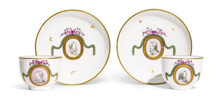 A PAIR OF FULDA PORCELAIN TEACUPS AND SAUCERS, 1780-85  