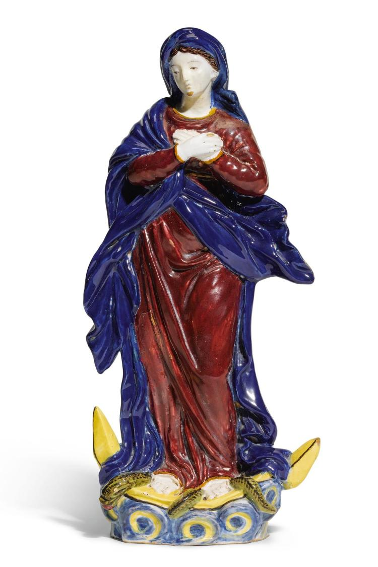 A GERMAN FAIENCE FIGURE OF THE VIRGIN OF THE IMMACULATE CONCEPTION, PERHAPS FULDA MID-18TH CENTURY |
