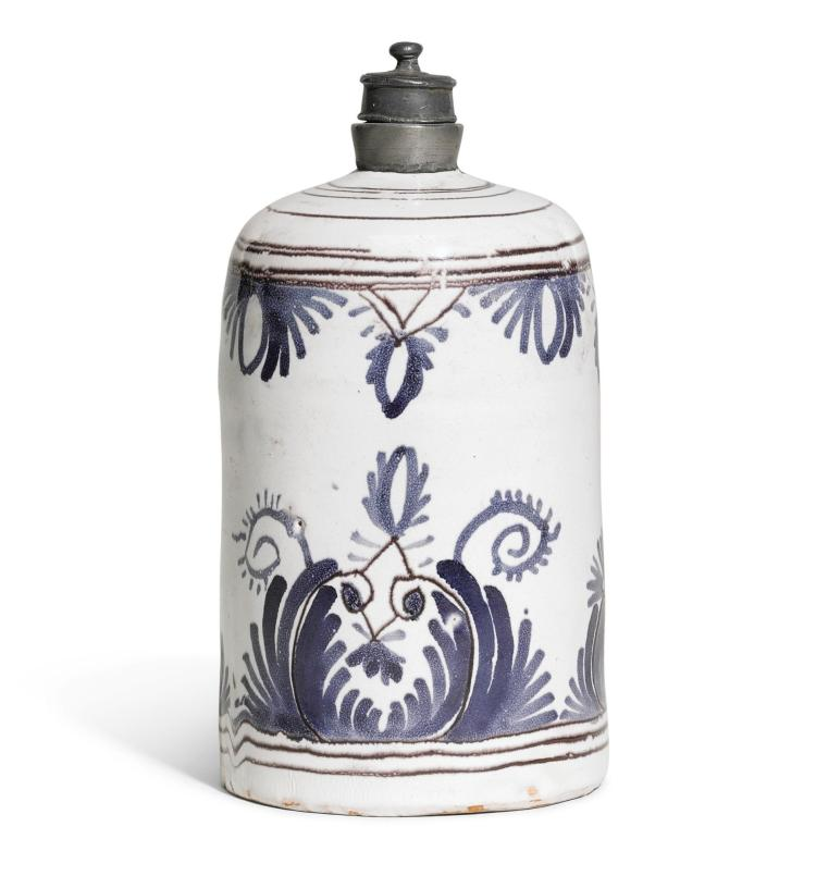 A FULDA FAIENCE FLASK OR CADDY, MID-18TH CENTURY |