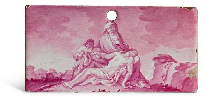A FULDA FAIENCE RECTANGULAR PANEL PAINTED WITH THE PIETA, MID-18TH CENTURY |