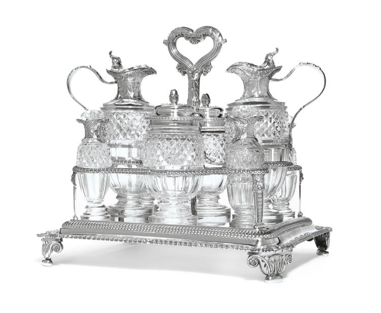 A GEORGE III SILVER AND CUT-GLASS EIGHT-BOTTLE CRUET STAND, PAUL STORR FOR RUNDELL, BRIDGE & RUNDELL, LONDON, 1816-17, ONE BOTTLE, 1822 |