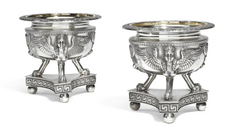 A PAIR OF GEORGE III SILVER SALTS, BENJAMIN SMITH PROBABLY FOR RUNDELL, BRIDGE & RUNDELL, LONDON, 1807 |