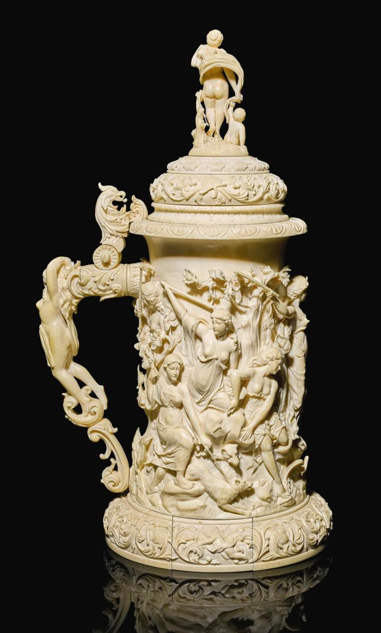 AN IVORY TANKARD, GERMAN, LATE 19TH CENTURY | An ivory tankard, German, late 19th century