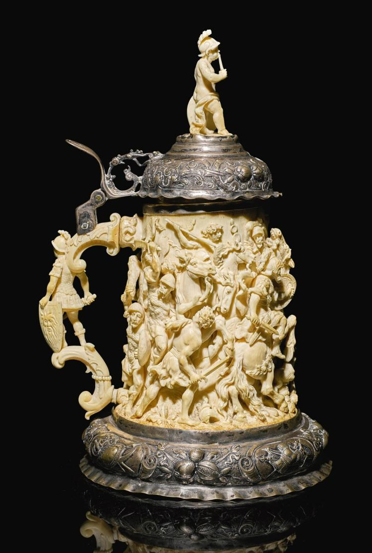 A SILVER-MOUNTED IVORY TANKARD, GERMAN, LATE 19TH CENTURY | A silver-mounted ivory tankard, German, late 19th century
