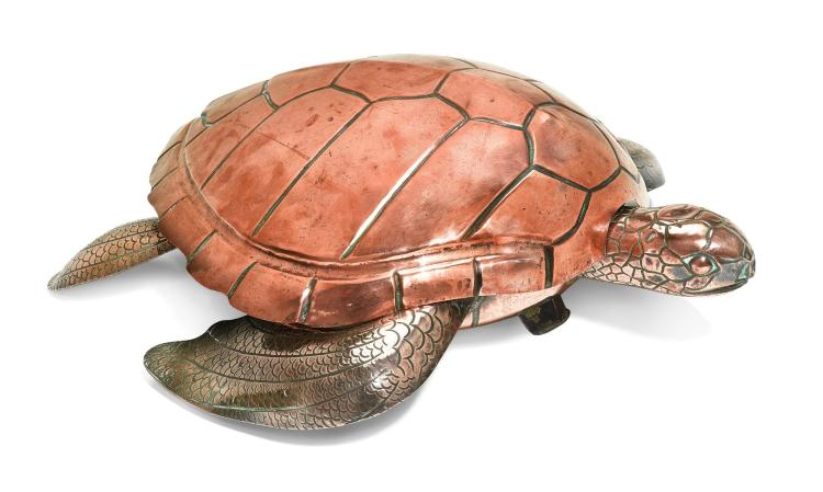 A COPPER 'TURTLE' SOUP TUREEN, PROBABLY ENGLISH, CIRCA 1800 |