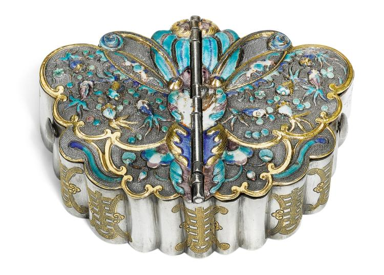 A CHINESE PARCEL-GILT SILVER AND POLYCHROME ENAMEL 'BUTTERFLY' BOX, CHARACTER MARKS ONLY, 19TH CENTURY |