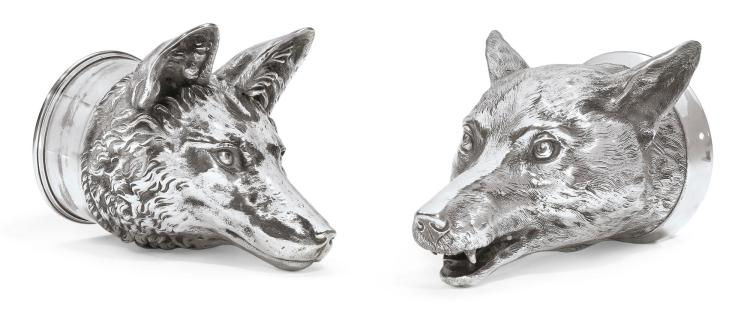 A VICTORIAN SILVER FOX-HEAD STIRRUP CUP, HUNT & ROSKELL, LONDON, 1846 |