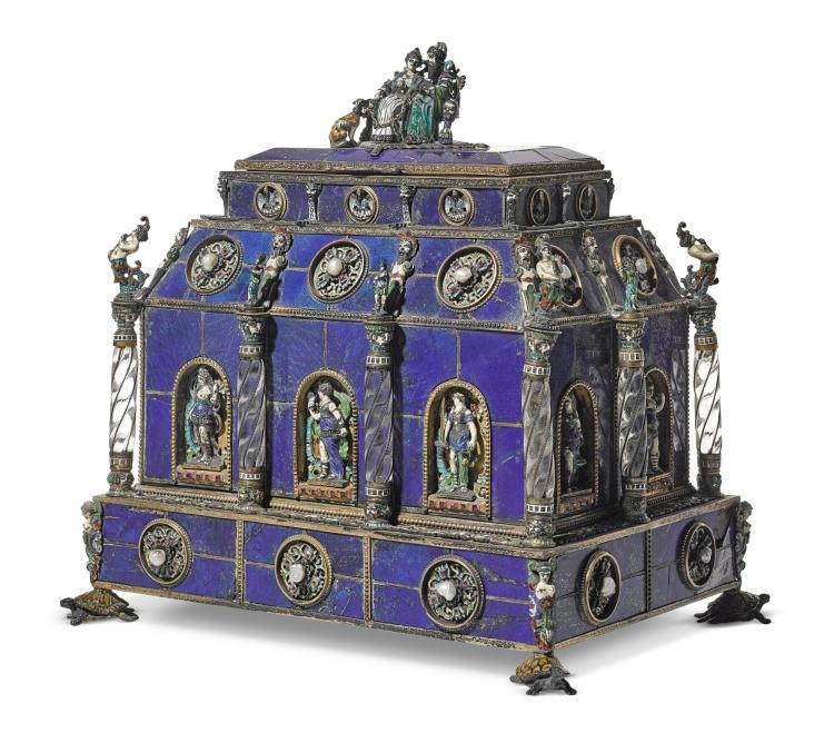 A LARGE VENEERED LAPIS LAZULI CASKET WITH JEWELLED SILVER, ROCK CRYSTAL AND ENAMEL MOUNTS, HERMANN BÖHM, VIENNA, LATE 19TH CENTURY | A large veneered lapis lazuli casket with jewelled silver, rock crystal and enamel mounts, Hermann Böhm, Vienna, late 19th century