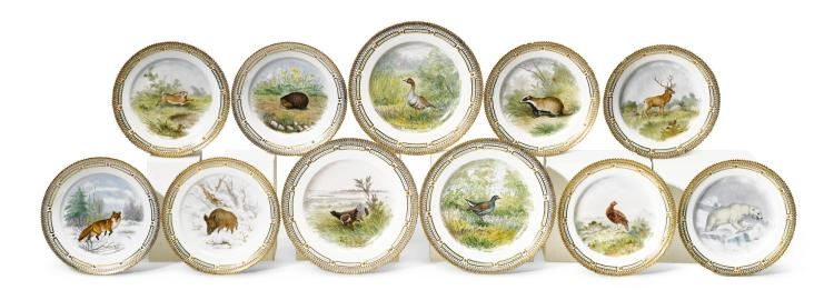 EIGHT ROYAL COPENHAGEN DESSERT PLATES AND THREE DINNER PLATES PAINTED WITH ANIMAL STUDIES, 20TH CENTURY AND LATER |