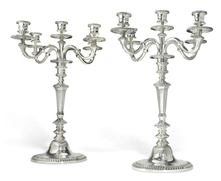 A LARGE PAIR OF VICTORIAN SILVER FIVE-LIGHT CANDELABRA, HUNT & ROSKELL, LONDON, 1867 |