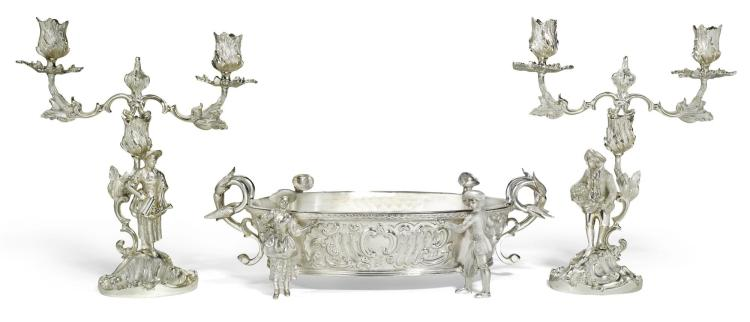 AN ELIZABETH II SILVER FIGURAL CANDELABRA AND JARDINIÈRE SUITE, C.J. VANDER LTD., LONDON, 1967 |
