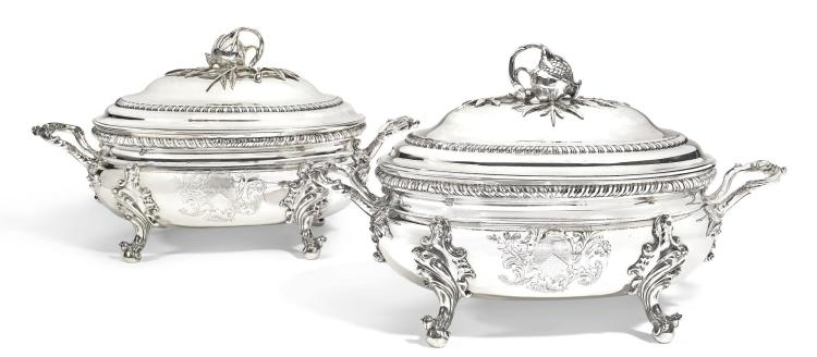 A PAIR OF GEORGE II SILVER SOUP TUREENS AND COVERS, EDWARD WAKELIN, LONDON, 1755 |