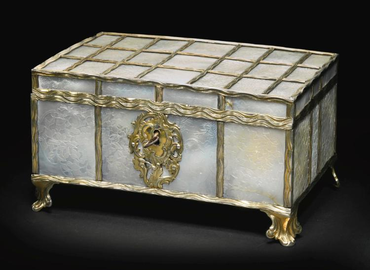 A CONTINENTAL SILVER-GILT MOUNTED MOTHER-OF-PEARL CASKET, POSSIBLY FRENCH OR GERMAN, CIRCA 1760, THE MOTHER-OF-PEARL PROBABLYCANTON,19TH CENTURY |