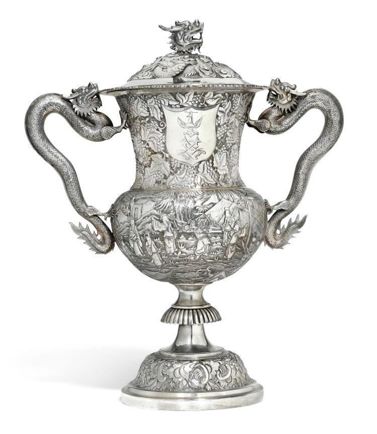 A CHINESE EXPORT SILVER TWO-HANDLE CUP AND COVER, LEE CHING, HONG KONG, CIRCA 1860 |