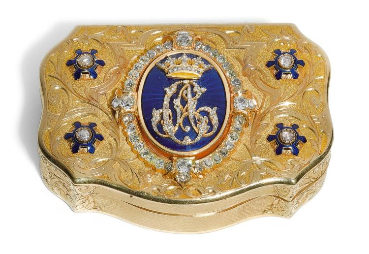 A JEWELLED GOLD AND ENAMEL SNUFF BOX, LOUIS-FRANÇOIS TRONQUOY, PARIS, MID 19TH CENTURY AND LATER | A jewelled gold and enamel snuff box, Louis-François Tronquoy, Paris, mid 19th century and later