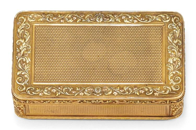 A THREE-COLOUR GOLD SNUFF BOX, RÉMOND, LAMY, MERCIER & CO., GENEVA, CIRCA 1815-20 | A three-colour gold snuff box, Rémond, Lamy, Mercier & Co., Geneva, circa 1815-20