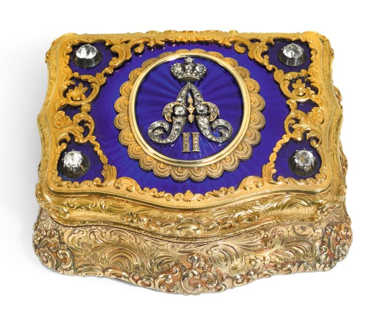 A JEWELLED GOLD AND ENAMEL PRESENTATION BOX, CHARLES COLINS & SÖHNE, HANAU, CIRCA 1855 | A jewelled gold and enamel presentation box, Charles Colins & Söhne, Hanau, circa 1855