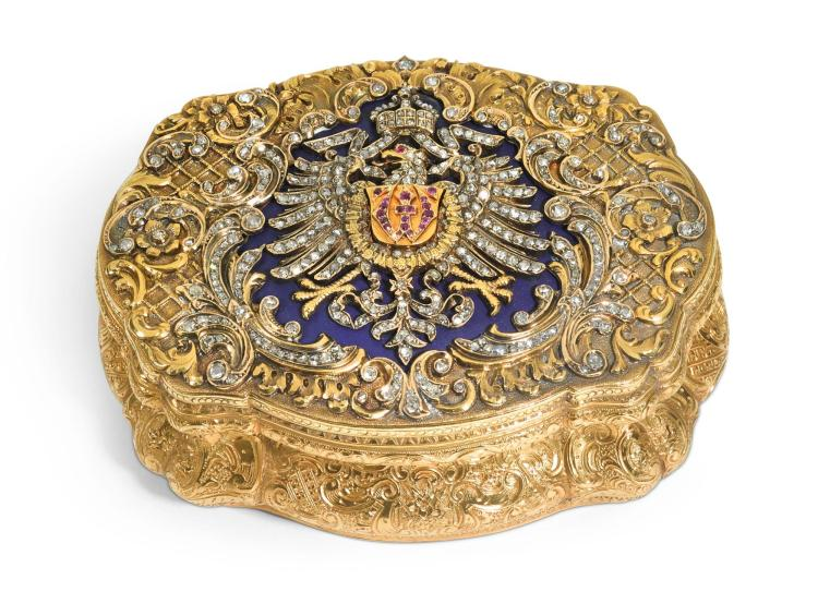 A JEWELLED GOLD AND FROSTED GLASS PRESENTATION BOX, HANAU, CIRCA 1871 | A jewelled gold and frosted glass presentation box, Hanau, circa 1871