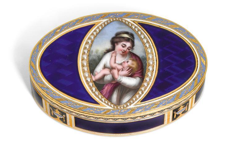 A GOLD AND ENAMEL SNUFF BOX, GENEVA, CIRCA 1800 | A gold and enamel snuff box, Geneva, circa 1800