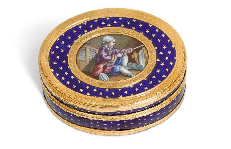 A SMALL GOLD AND ENAMEL SNUFF BOX, CHARLES BRISSON, PARIS, 1770/1 | A small gold and enamel snuff box, Charles Brisson, Paris, 1770/1