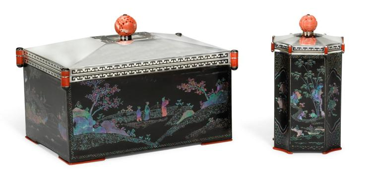 A SILVER, BURGAUTÉ LACQUER, ENAMEL AND CORAL TABLE CIGAR BOX AND ACCOMPANYING CIGARETTE BOX, ATTRIBUTED TO CARTIER, FRENCH, CIRCA 1920 | A silver, burgauté lacquer, enamel and coral table cigar box and accompanying cigarette box, attributed to Cartier, French, circa 1920