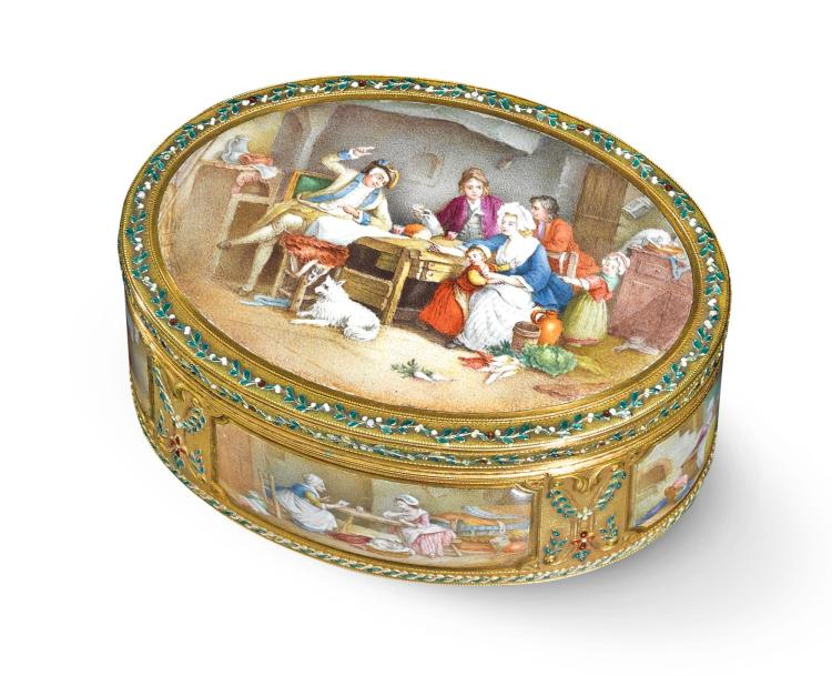 A GOLD AND ENAMEL SNUFF BOX, PROBABLY GERMAN, THIRD QUARTER OF THE 19TH CENTURY | A gold and enamel snuff box, probably German, third quarter of the 19th century